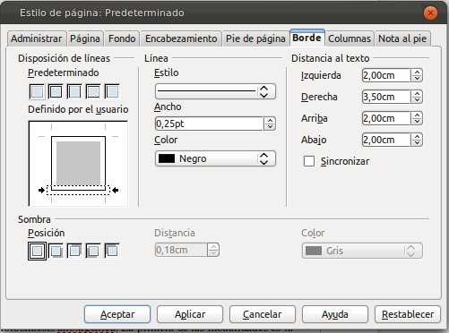 bordes libreoffice