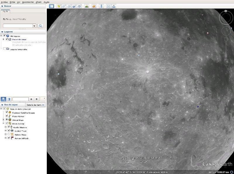 explorar la luna con google earth