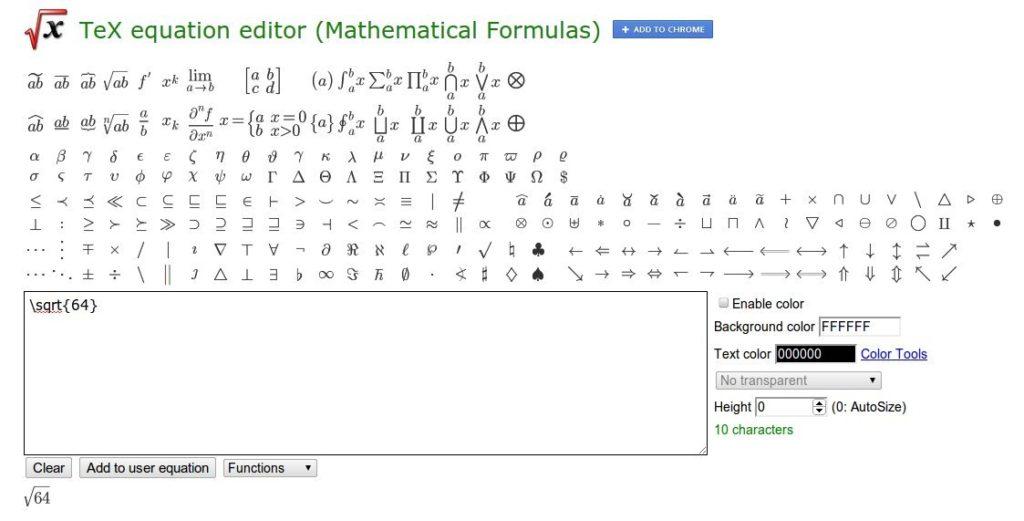 crear y editar fórmulas matemáticas