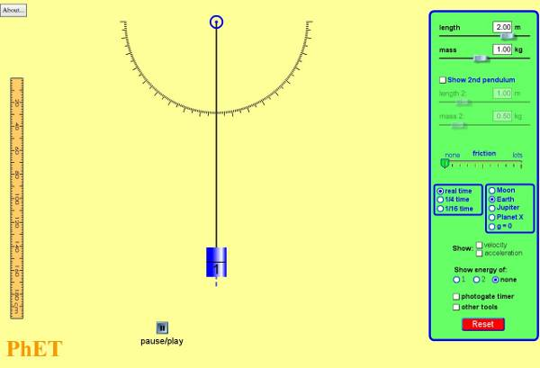 simulaciones interactivas de física péndulo
