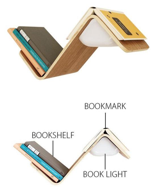 bibliotecas originales repisa señalador velador luz
