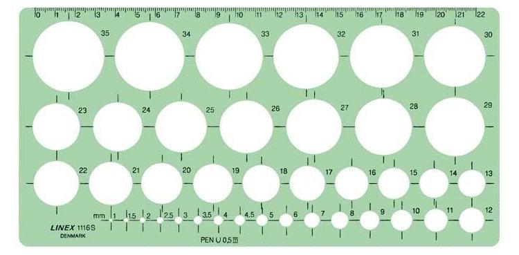 dibujo técnico plantilla círculos