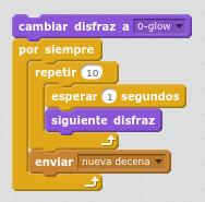 Programar un contador con Scratch disfraz a 0 y resto del programa