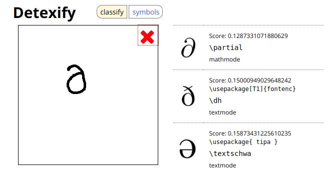 buscar símbolos matemáticos de LaTeX detexify