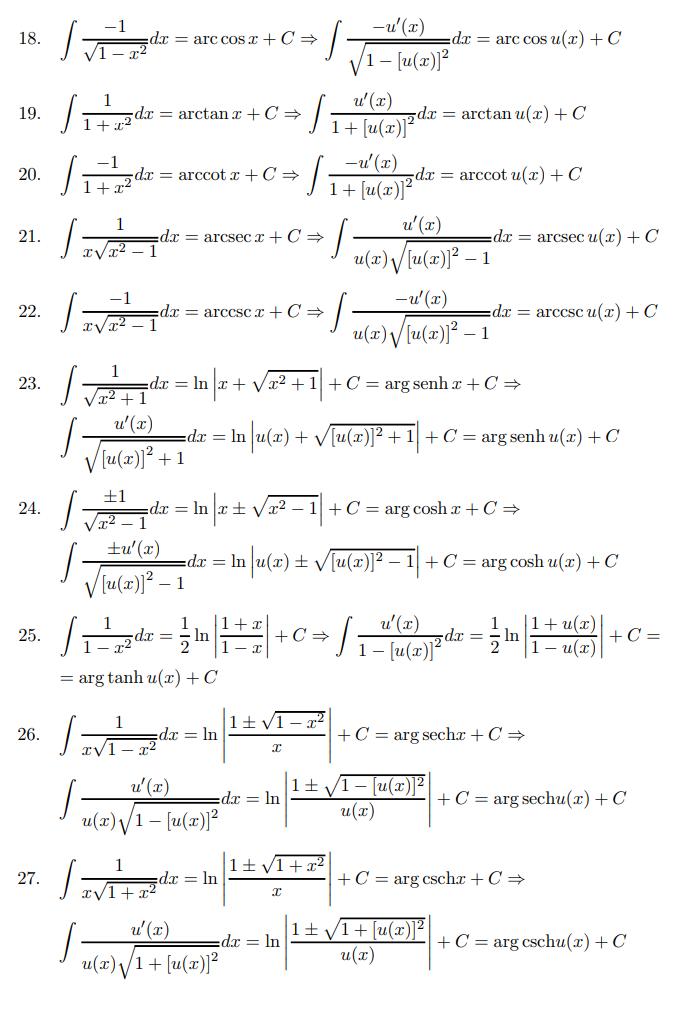 tabla de integrales online