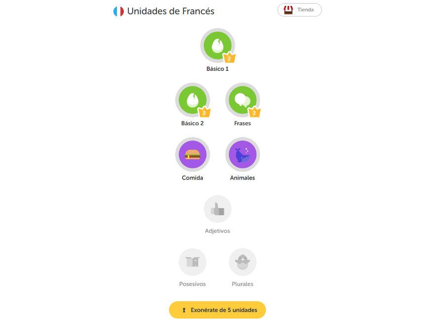 trucos para aprender idiomas con Duolingo árbol de lecciones